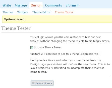 Theme Tester configuration